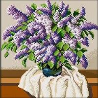 Mosaik Muster Perlen Stickerei Lila und Weiß Lila Blume Vase Voll 5D Drill Diamant Malerei Dekoration Strass Bild