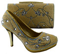 New Arrival Italian Shoes With Matching Bags Set For Party African Women Shoes And Bags Set To Matching Gold Color 1308-L55
