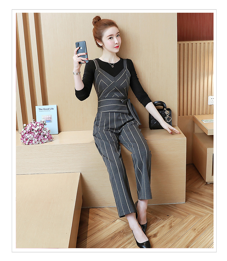 YICIYA Women outfits tracksuit sportswear Striped top and bib pants suits 2 piece set co-ord set OL Office 2019 bodycon clothing 17