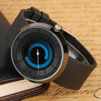 Tire Lines Pattern Dial Special Watches Men 2017 Cool Fashion Stylish  Wrist Quartz Watch Rubber Brief Unique Student Clock