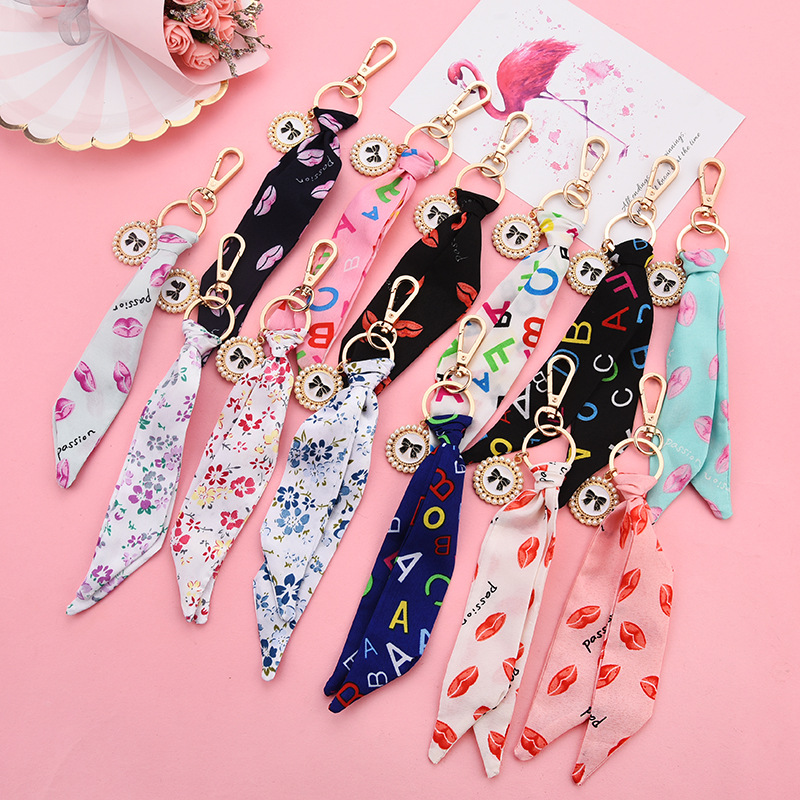 Women Fashion Ribbon Key Chain New Bow Pearl Disc Pendant Car Key Ring Ladies Bag Phone Pendant Party Gift Keychain K3009
