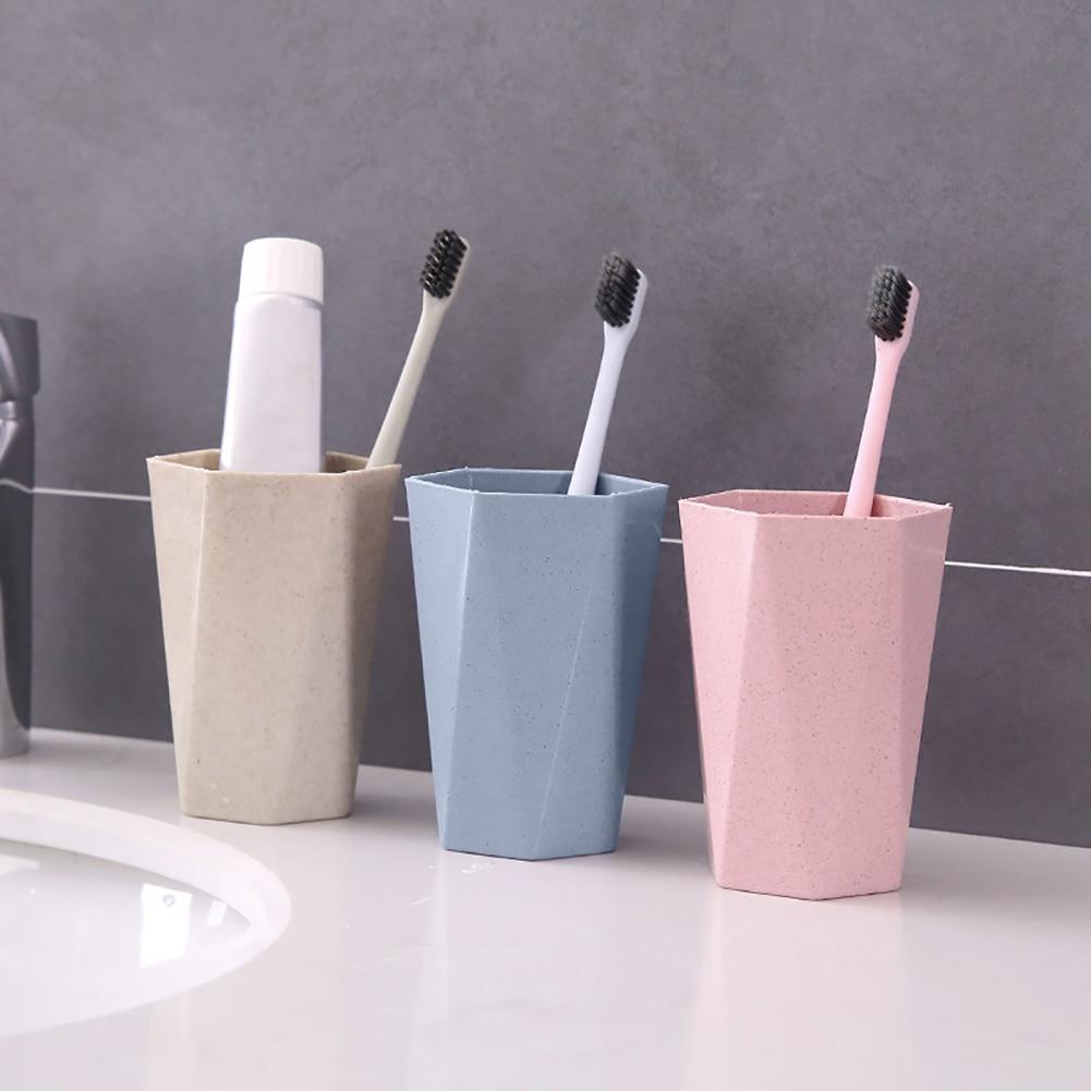 Eco-friendly Wheat Straw Gargle Mug Tooth Brush Home Travel 12