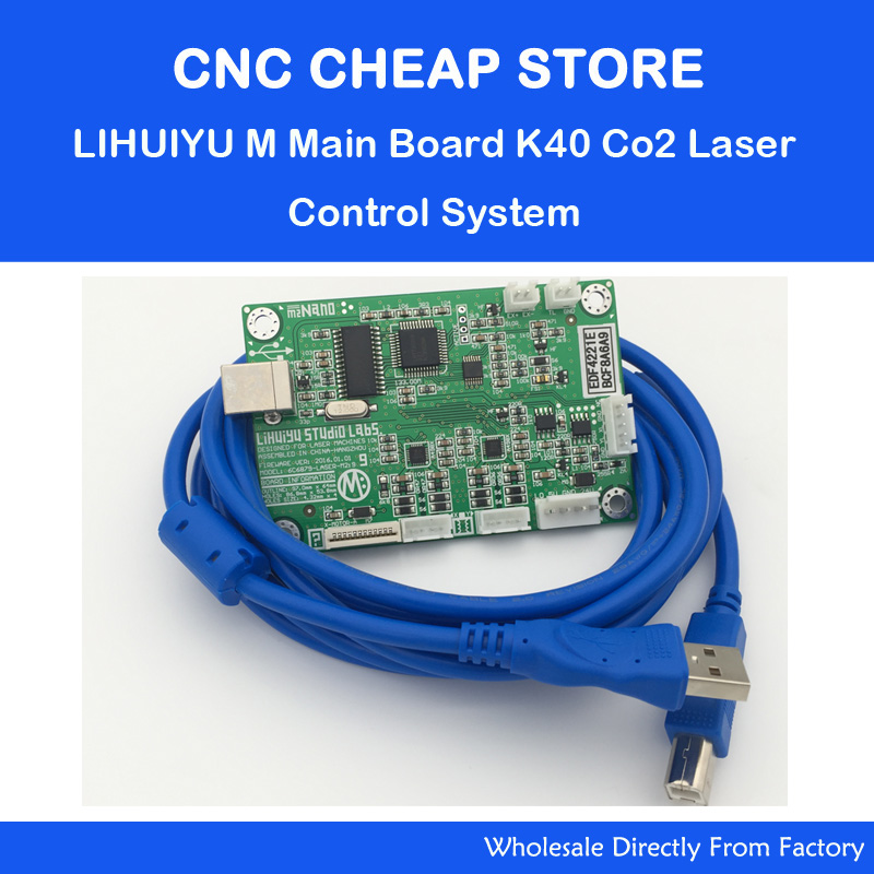 CO2 Laser Rubber Stamp Engraving Machine K40 LIHUIYU M Mother Main Board + Data Cable Control System Engraver Cutter 3020 3040