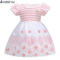 Princess Flower Girl Dress Spring Tutu Wedding Birthday Party Dresses Embroidered Floral O Neck For Girls