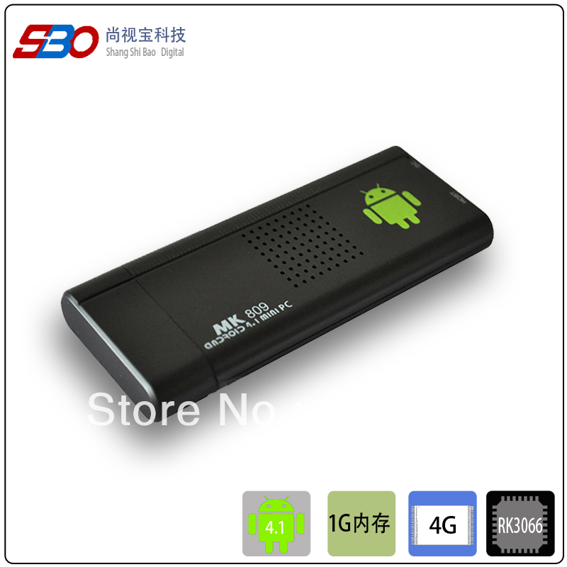 Free shipping! MK809TV, Box dual core RK3066 mini PC 4.1 Smart TV Player