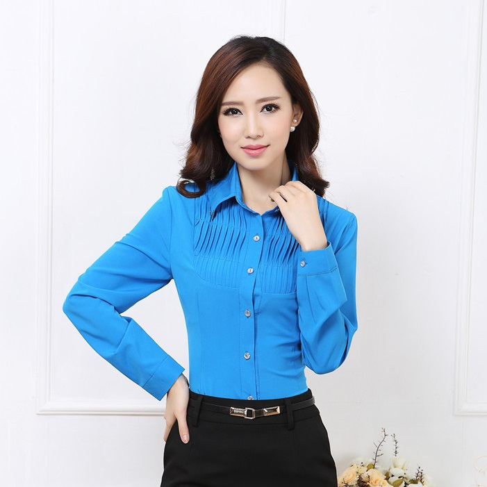 Aliexpress.com : Buy New 2017 Autumn Female Formal Blue Blouse ...