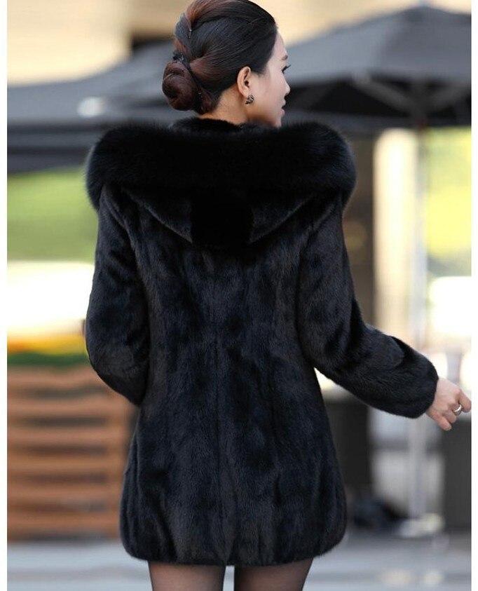 Manteau en fausse fourrure pour femme hiver chaud noir Imitation fourrure de renard Long col rond chapeau tempérament jeune femme 2019 nouveau - 3