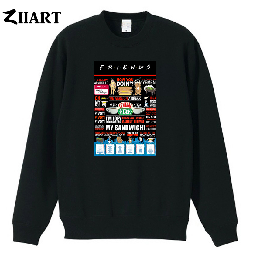 Friends Central Perk The Holiday Armadillo Pivot Unagi Couple Clothes Boys Man Male Cotton Autumn Winter Fleece Sweatshirt Hoodies & Sweatshirts
