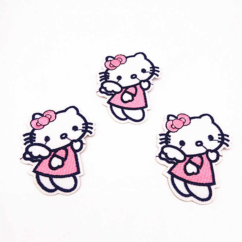 28d68cefe ... 10Pcs Hello Kitty Patches Badges Cartoon Cat Icon Iron On Patches Kids  DIY Cute Sewing Embroidered ...
