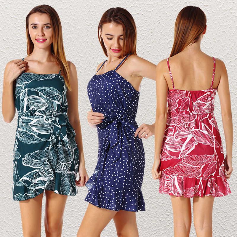 ... Plus Size Women Floral Dress Spaghetti Strap Collect Waist A-line  Summer Mini Dress Off 9bc0e541eb1b