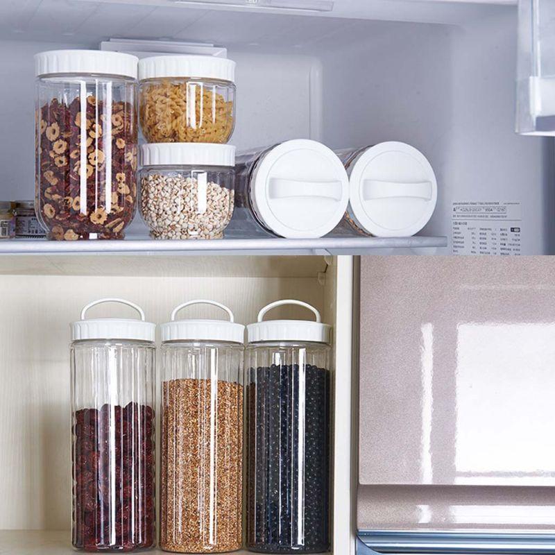 주방 투명 식품 저장 용기 뚜껑 씰링 냄비 곡물 콩 쌀 봉인 플라스틱 우유 분말 항아리