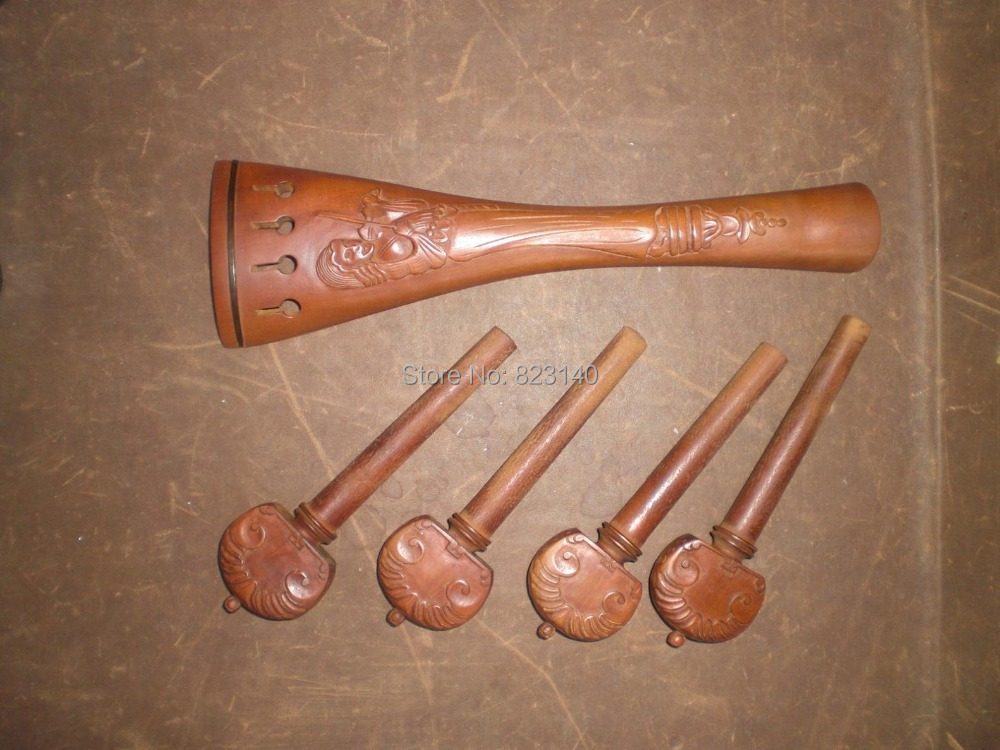 1 Set Cello Fitting(Jujube carved 02 type) with cello pegs and cello tail piece 4/41 Set Cello Fitting(Jujube carved 02 type) with cello pegs and cello tail piece 4/4