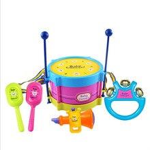 Brinquedos Educacionais do bebê Incluindo Tambor de Mão Chocalho Chifre Pequeno Instrumento Musical para o Presente Do Bebê