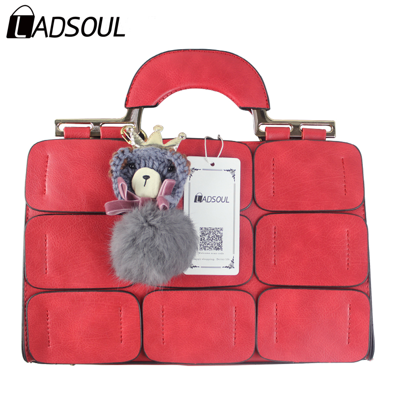 Ladsoul 2017 new fashion women leather handbags women bags suture boston bags women shoulder bag leather ladies bags hl8231/g