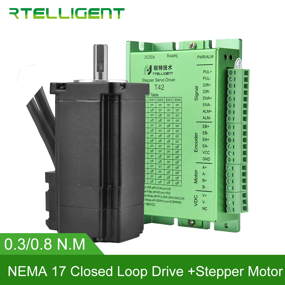 SALE Nema 17 0.3/0.8N.m Closed Loop Stepper Motor kits 42.5Oz-in Nema17 Stepper Motor and Drivers / Servo Motor kits RtelligentSALE Nema 17 0.3/0.8N.m Closed Loop Stepper Motor kits 42.5Oz-in Nema17 Stepper Motor and Drivers / Servo Motor kits Rtelligent