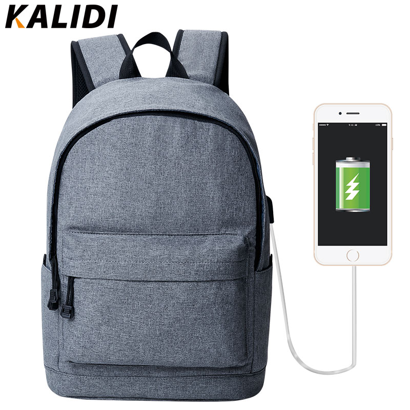 KALID 15 Inch Laptop Backpack USB Charger Canvas Backpack for Men Mini Backpacks for Girls Casual Backpack Women Small Male B кусачки для ногтей 1056 men b 15 мм