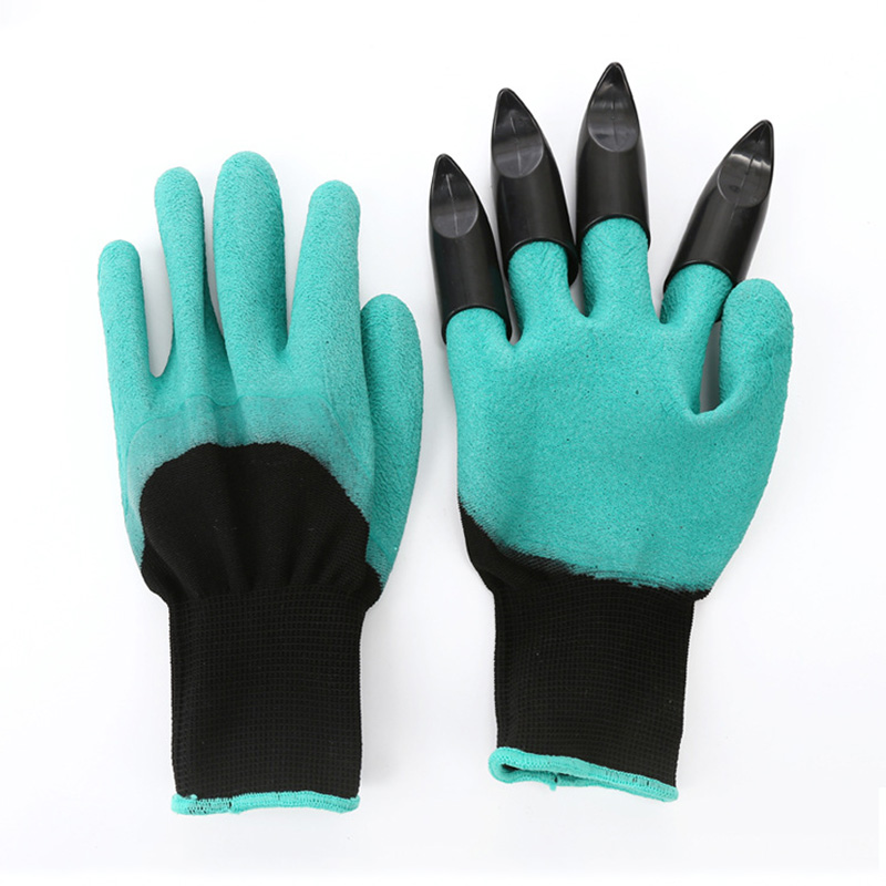 New garden gloves 4 abs plastic claws for garden excavation planting outdoor general protective work gloves