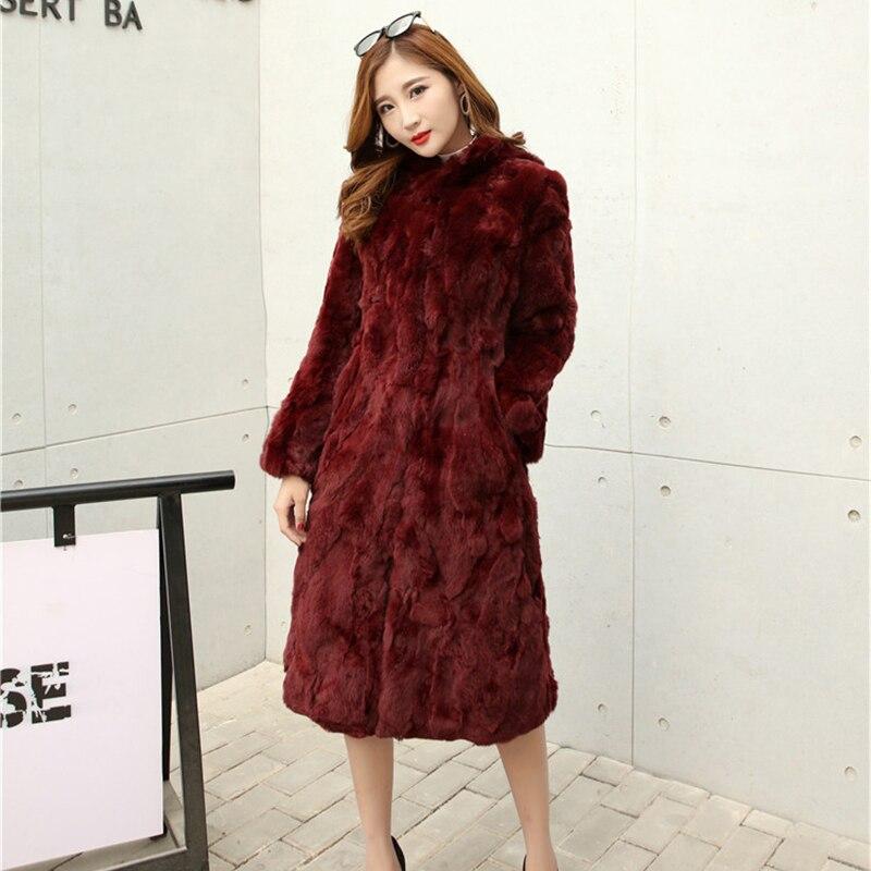 X-long 110 cm Natural Rex Rabbit Fur Coats Outerwear Women Stand Collar Full Sleeve Real Fur Jacket 2019 Autumn Winter Plus Size