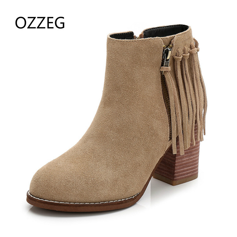 Women Ankle Boots High Heel Pumps Genuine Leather Martin Boots Fashion Fringe Woman Shoes Autumn Winter