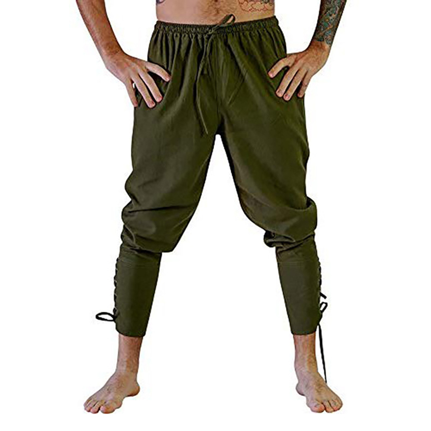 Men's Casual Prince Pants Solid Stage Knight Trousers Men Bandage Pirate Trousers Medieval Cos Costume Male Trousers