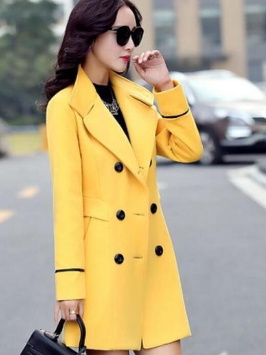 4dbef7a52 Invierno Paño Mujer azul Marino En Una Otoño Coreano De rojo Nueva 2016  Lana E Caqui Delgada Abrigo ...