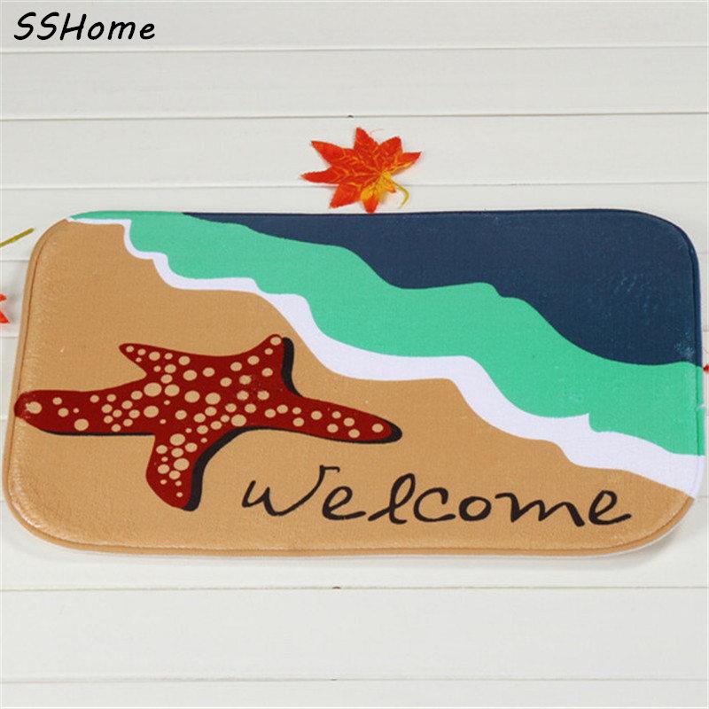 Coral Velvet Bathroom Carpet Mats Anti-slip Rug Shower 40x60cm Starfish Beach Bath Kitchen Doormat for Hallway Home Decoration