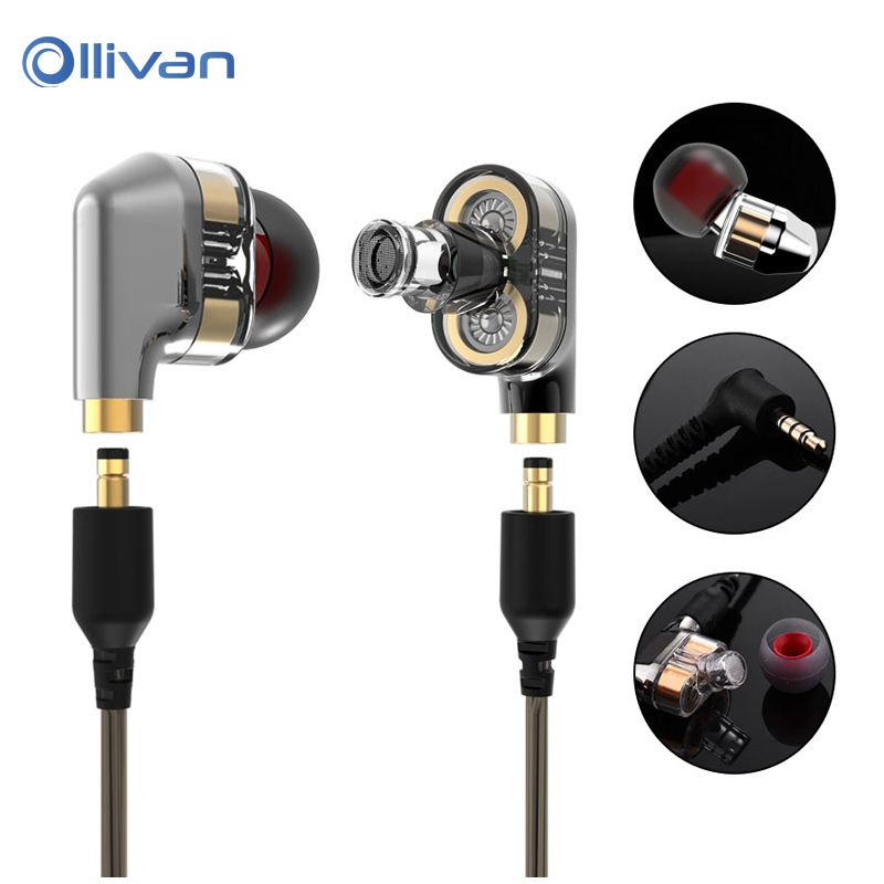 Ollivan Dual Driver Extra Bass Turbo Wide Sound gaming headset mp3 DJ auricular In Ear HIFI Earphone fone de ouvido auriculares
