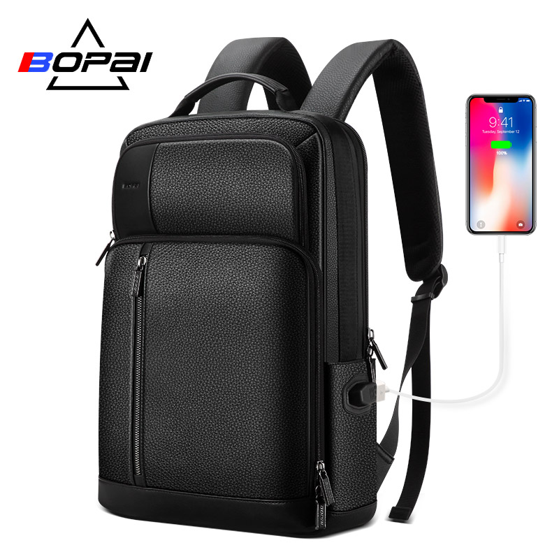 BOPAI Genuine Leather Backpack Men Back Pack Bags Top Layer Cow Leather Laptop Backpack 15.6 Inch Soft Real Leather Backpack Men