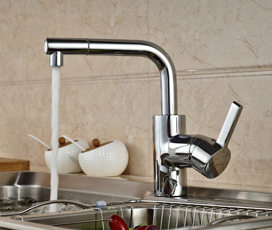 Deck Mounted Swivel Spout Kitchen Faucet Single Handle Vessel Sink Mixer Tap Hot and Cold Water