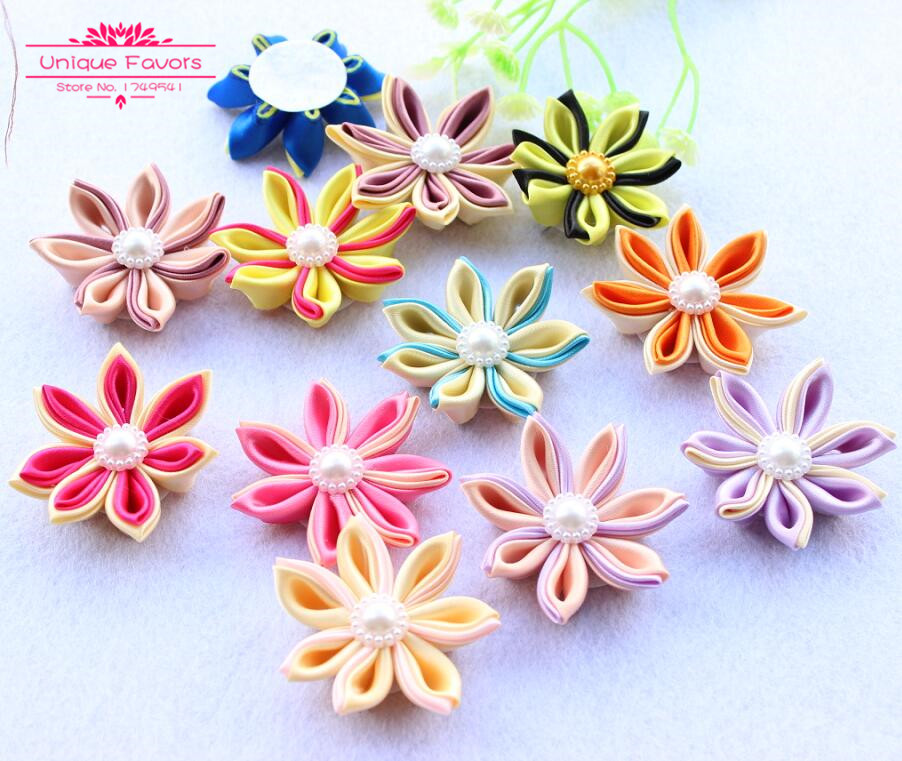 7044467ae 15pcs Handmade Ribbon Flowers W/ Pearlized Bead Cabochon 50mm BIG Patchwork  Fabric Flowers Women Headband Headwear Accessories