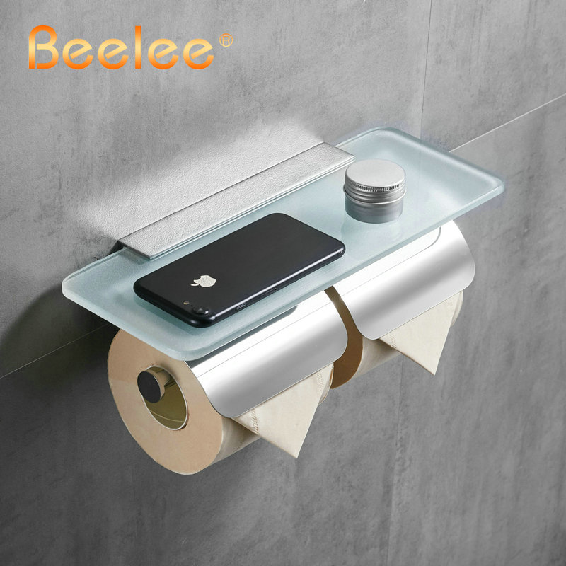 Beelee Toilet Paper Holder Double Solid Brass with Glass Bathroom Toilet Roll Holder For Roll Paper Bathroom AccessoriesBeelee Toilet Paper Holder Double Solid Brass with Glass Bathroom Toilet Roll Holder For Roll Paper Bathroom Accessories