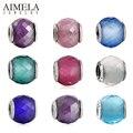 AIMELA 9 Colores Geométrica Facetas de Cristal Cupieron Pulseras Originales 925 Sterling Silver Ronda Granos Del Encanto Para La Joyería Que Hace