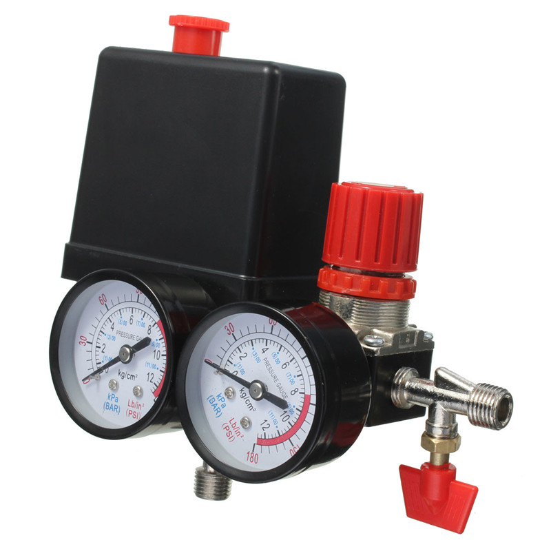 New Arrival Air Compressor Pressure Valve Switch Manifold Relief Regulator Gauges 180PSI 240V 45x75x80mm Popular vertical type replacement part 1 port spdt air compressor pump pressure on off knob switch control valve 80 115 psi ac220 240v