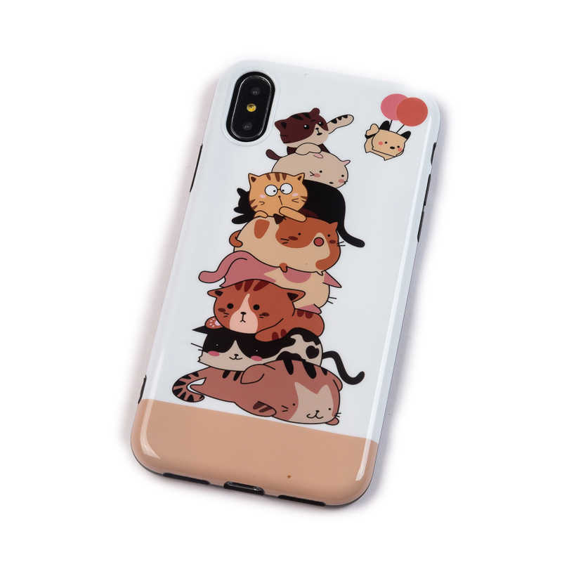الفن الزهور ورقة موز الهاتف حقيبة لهاتف أي فون XS ماكس XR 6 6S 7 8 زائد X الرجعية نمط زهرة الأزهار لينة الهاتف الغطاء الخلفي لطيف القط