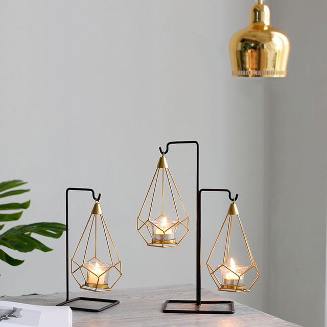 Novelty Nordic golden metal candle holders 6 styles modern simple candles for bedroom holiday living room restaurant washingroom 6