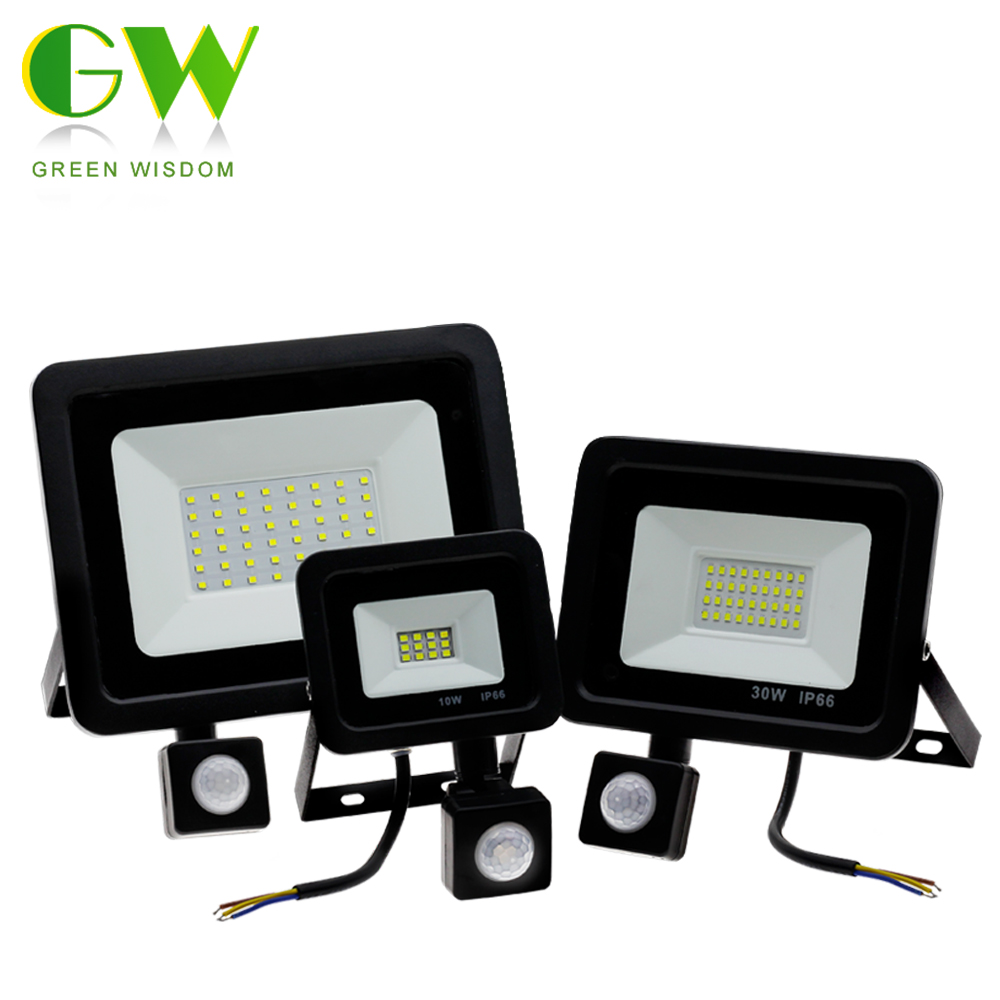 Outdoor Wall Street Light AC220V 10W 30W 50W LED Floodlight With PIR Motion Sensor Waterproof Spotlight For Garden Yard Street