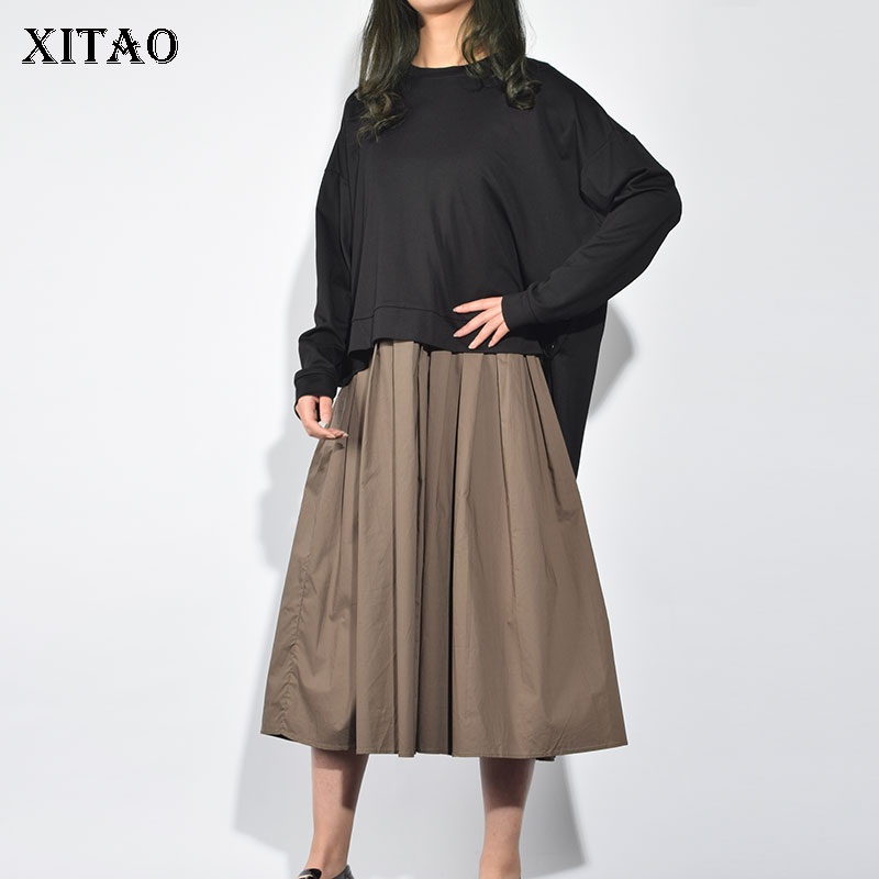 XITAO 2019 Spring Summer New Fashion O neck Full Sleeve Casual Dress Female Solid Color