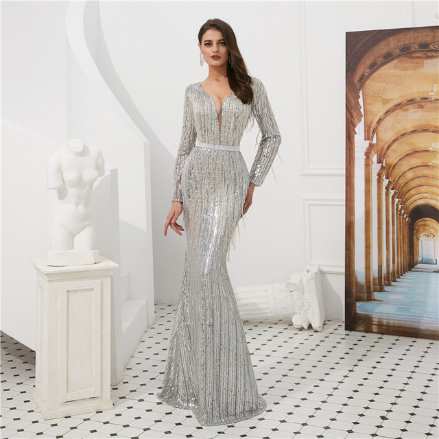 dcb46d707a35 Luxury Silver Evening Dress Long Sleeves 2019 V Neck Tassel Beading Sequin Mermaid  Prom Dress Formal Party Gown Robe De Soiree