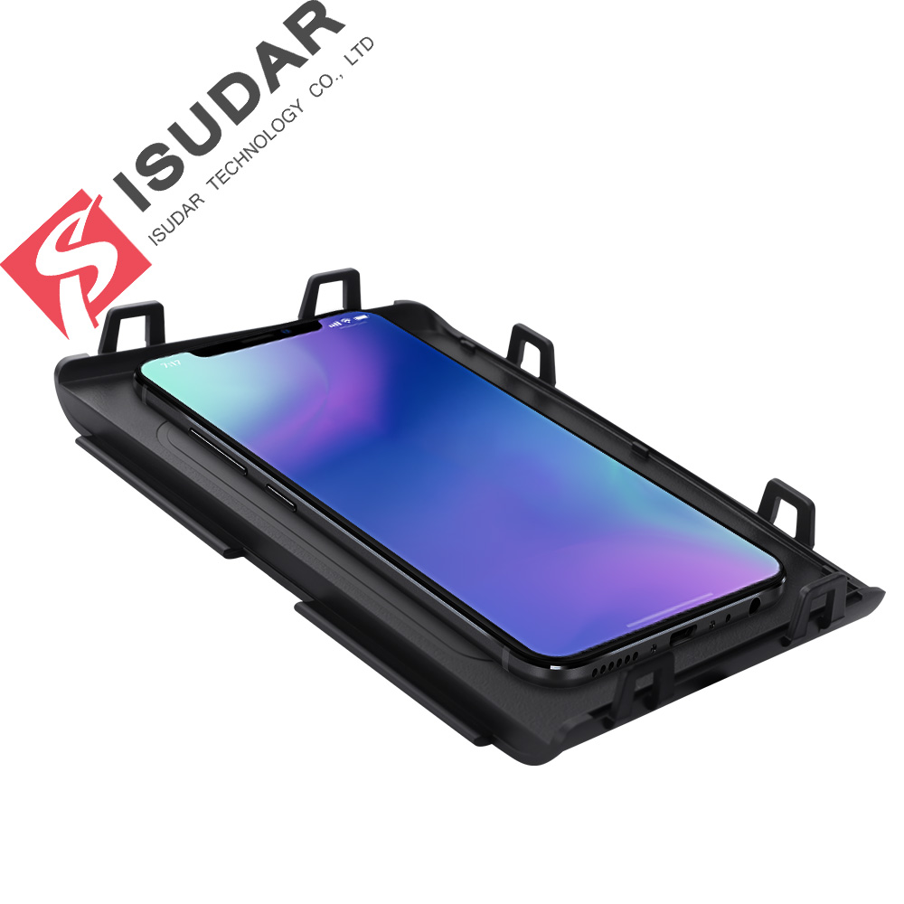 ISUDAR 10W Qi Car Wireless Charger Auto Fast Wireless Charging For Tiguan 2014/2015/2018 for iphone 8 X For Samsung For Huawei executive car