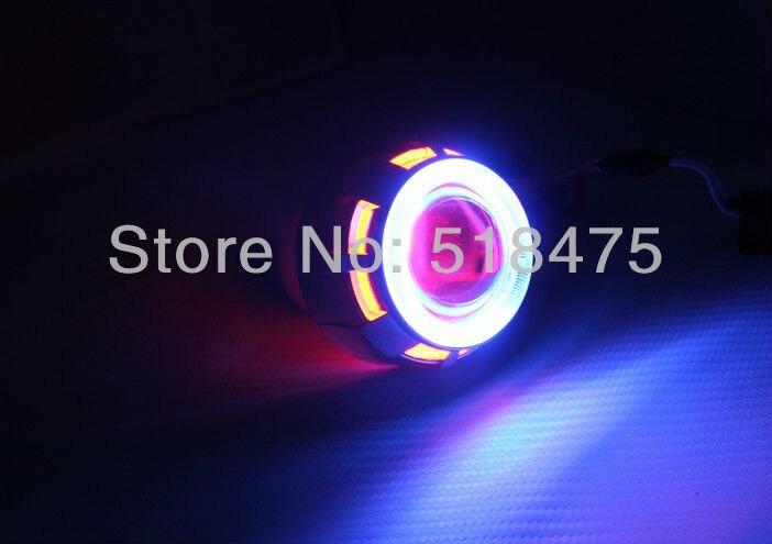 2.5 Inch RHD Car Motor Mini Bi-xenon/HID Projector Lens Angle Eye Halo Lens Kit Headlight Bulb Shroud for motocycle *1set  new 2 5 inch lhd car motor bi xenon for hid projector halo lens angle eye headlights bulb shroud h1 h4 h7