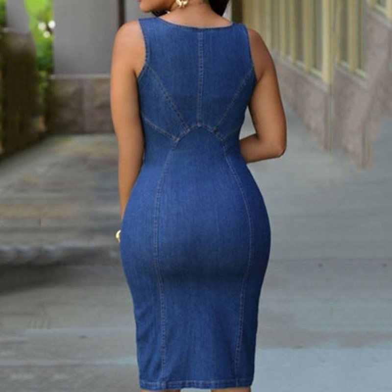 Джинсовое платье женское летнее джинсовое синее уличное модное без рукавов сексуальное приталенное женское платье с разрезом на молнии 2019 Новое Клубное повседневное облегающее платье