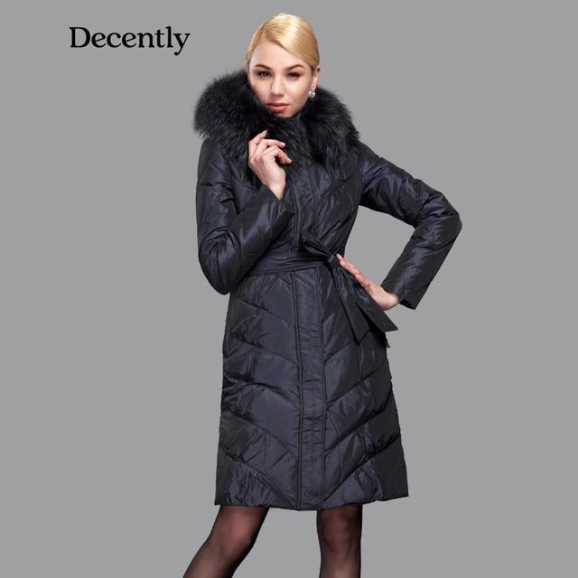 Decentemente 2015 Inverno Das Mulheres Para Baixo Casaco Fino Moda Casaco de Pato Para Baixo Com Capuz Bolso Grande Gola de Pele De Guaxinim 1A7098-1