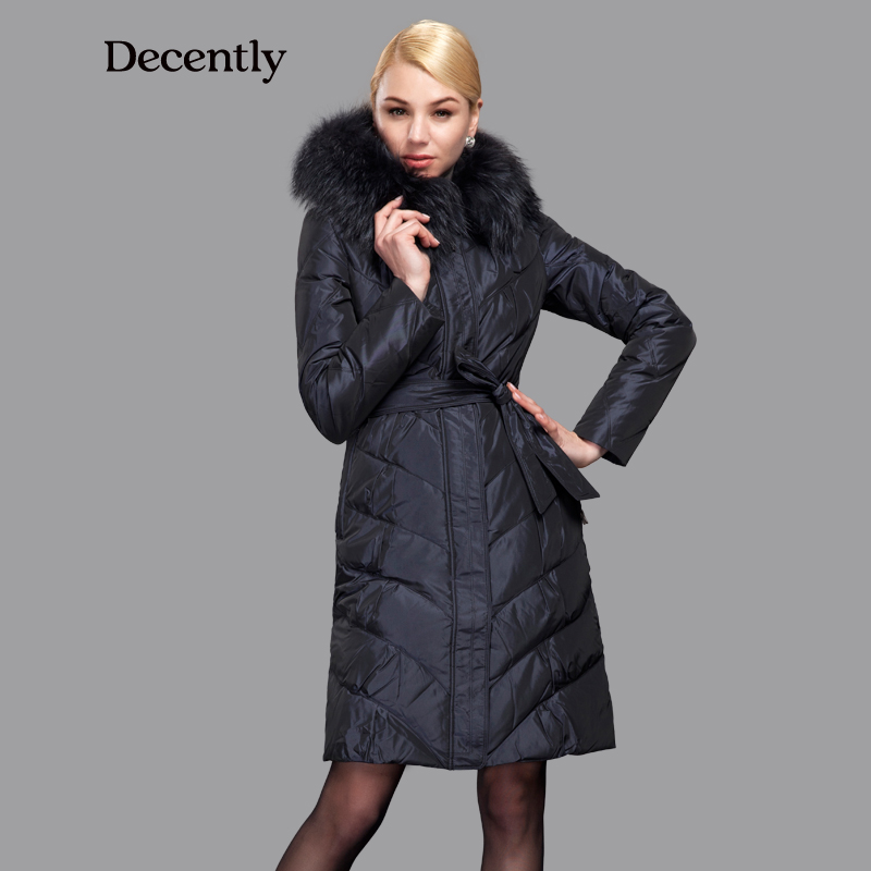 Decently 2017 Winter Women Down Jacket Slim Fashion Coat Duck Down Hooded Pocket Large Raccoon Fur Collar 1A7098-1
