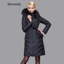 Decently 2015 Winter Women Down Jacket Slim Fashion Coat Duck Down Hooded Pocket Large Raccoon Fur