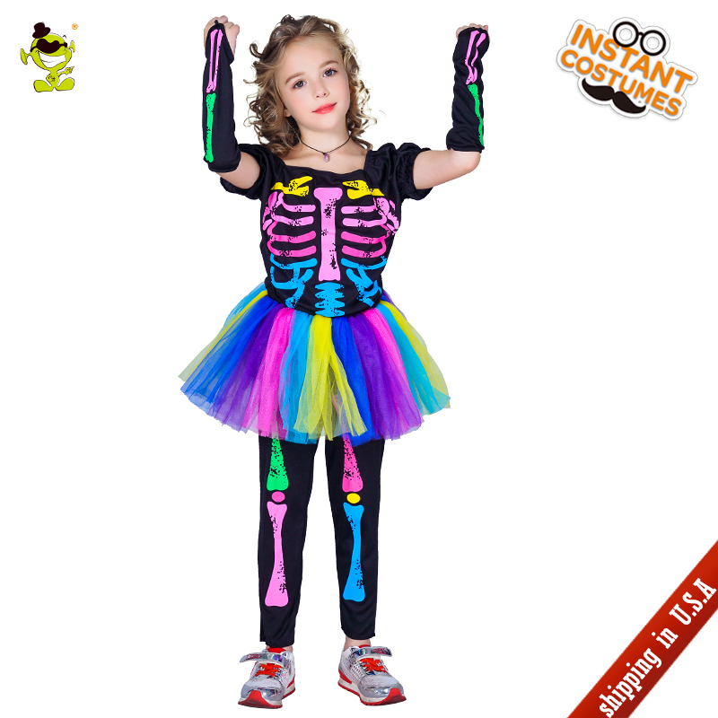 QLQ Girls Colorful Skeleton Tutu Dress Costumes Children Gorgeous Skull Human Role Play Fancy Outfits for Show Party