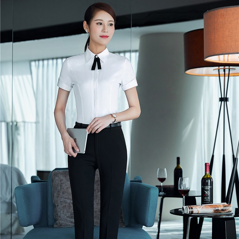 Novelty White Formal Professional Pantsuits With Tops And Pants For Ladies Trousers Sets Pants Suits Office Uniforms Outfits