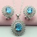 ASHLEY Flower Blue White Stone Wedding Jewelry Set Silver Plated Choker Necklace Pendant Hoop Earrings  for Women  Free Gift Box