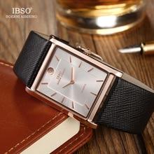 Ibso 超薄型長方形ダイヤル男性腕時計 2020 レザーストラップクォーツ腕時計クラシックビジネス時計男性レロジオ masculino