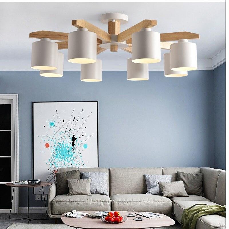 Moderne LED Lustre E27 Avec Abat-Jour En Fer Nordique Lustre Pour Salon Suspendsion Luminaire En Bois éclairage LED