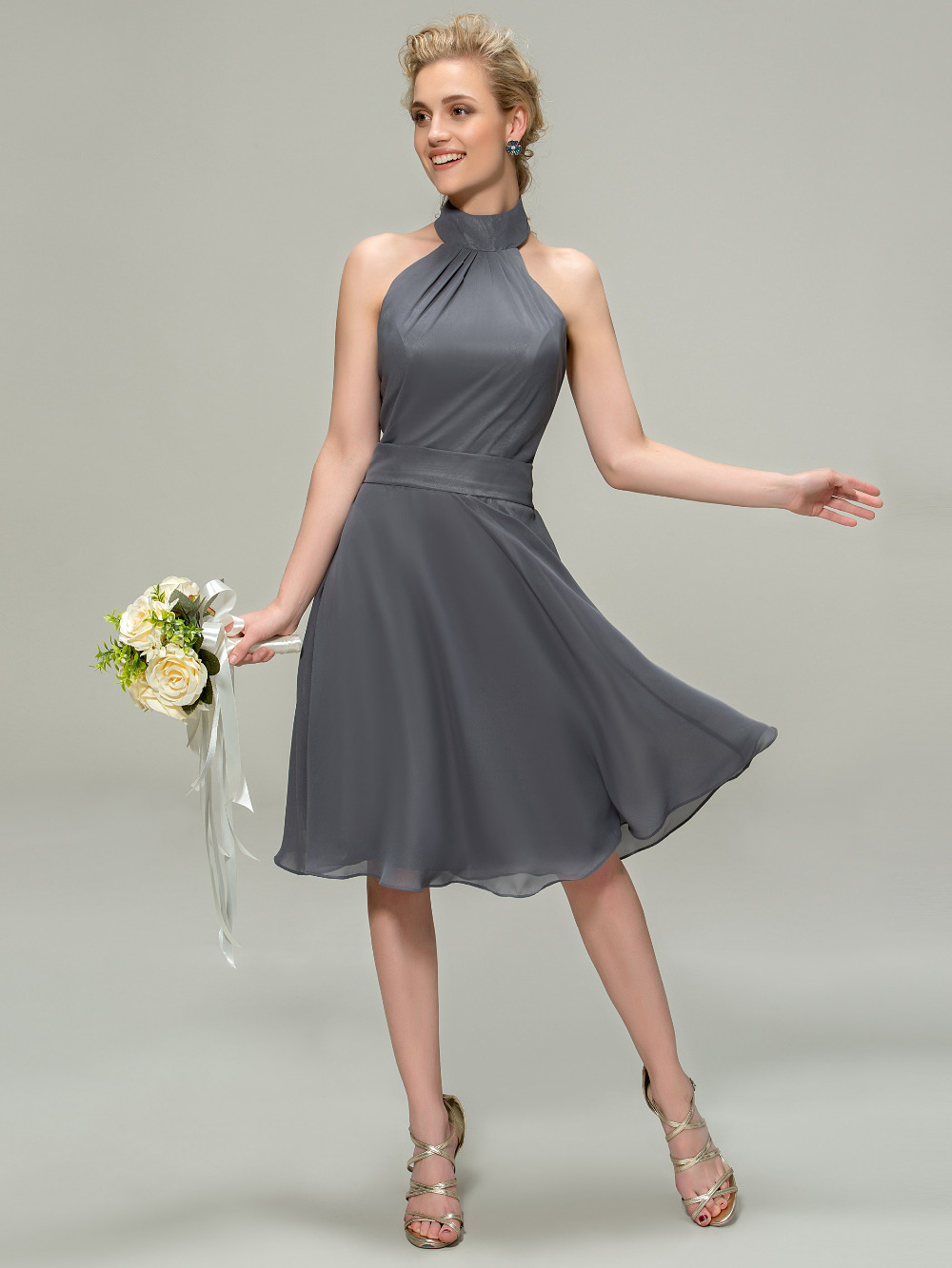 Aliexpress buy new gray chiffon short bridesmaid dress 2016 aliexpress buy new gray chiffon short bridesmaid dress 2016 empire waist halter neck vestido curto ruched knee length wedding party gowns from ombrellifo Gallery